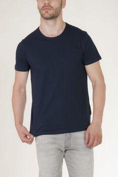 Κοντομάνικη μπλούζα μπλε με στρογγυλή λαιμόκοψη αντρικό sorbino