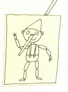 Knutselen: Pinokkio met een schuifbare neus.