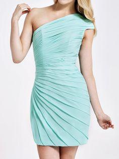 One Shoulder Ruched Sheath Bridesmaid Dress