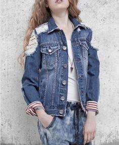 Distressed Denim Jacket with Cuff Details