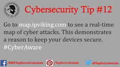 Go to map.ipviking.com to see a real-time map of cyber attacks. This demonstrates a reason to keep your devices secure. #CyberAware