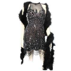 Bob Mackie 20s Inspired Beaded Gatsby Flapper Dress  1975-99