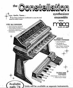 Moog Constellation prototype c.1974 Seen as Moog's answer to the Yamaha GX1. This was a short lived project, Keith Emerson road tested it at Cal-Jam that same year. The system was made up of a monosynth called the Lyra (3 VCOs and similar to the Minimoog), Moog's first polyphonic synth Apollo, and Taurus bass pedals. The project did not become a mainstream product, and only the polysynth - renamed the PolyMoog - and the Taurus bass pedals survived.