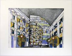 """3D - """"London Wall at Night"""" by Matthew Lloyd for 10x10 Drawing the City London 2011"""