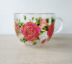 Big hand painted pink roses glass coffe mug Jumbo Coffee mug Tea Cup Hand painted pink flowers mug M Clear Coffee Mugs, Painted Coffee Mugs, Customised Mugs, Custom Mugs, Glass Tea Cups, Hand Painted Walls, Teapots And Cups, Easy Home Decor, Dorm Decorations
