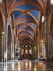Santa Maria sopra Minerva- only Gothic church interior in Rome.  The outside was redone in Renaissance style