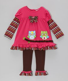 Take a look at this Fuchsia & Brown Owl Layered Tunic & Leggings - Infant & Toddler by Rare Editions on #zulily today!