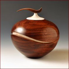 Recessed Wave Wood Turned Vessel with Wave Finial, 2012 by Artist John Beaver. WOW is all I can say!