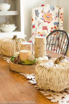 Fall dining room + rattan pumpkins