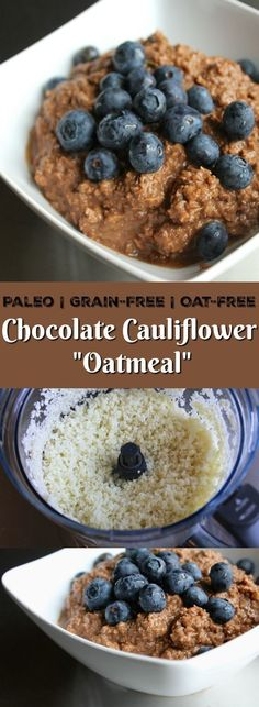 This Chocolate Cauliflower Oatmeal recipe is a unique twist on oatmeal. It's dairy-free and paleo, and a great healthy breakfast.   Keto recipe, low-carb recipe, cauli oats, grain-free breakfast, paleo breakfast