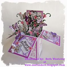 Purple Butterfly Pop Up Box Card