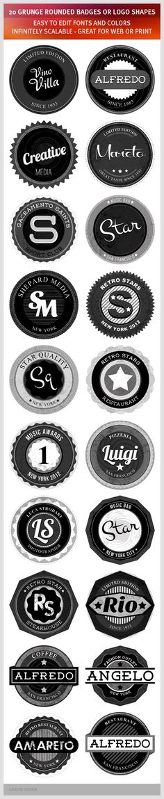 GraphicRiver 20 Grunge Rounded Badges or Logo Shapes 1267300 Web Element Badges & Stickers Sign Rounded Round Stamp Sticker Vintage Vector Retro Design Dark GraphicRiver 20 Grunge Rounded Ba Branding Design, Logo Design, App Design, Print Design, 404 Pages, Logo Shapes, Typography Love, Lettering, Round Logo