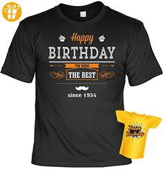 Geburtstags-Fun-Shirt-Set inkl. Mini-Shirt/Flaschendeko: Happy Birthday the Best since 1954 - geniales Geschenk (*Partner-Link)