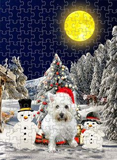 West Highland White Terrier Dog with Snowman Jigsaw Puzzle, Christmas, 1000 Pieces Jigsaw Puzzle PrintYmotion #West Highland White Terrier #Dog Lovers gift #Christmas Gift #Christmas Puzzle Lovers Gift, Gift For Lover, Dog Lovers, Christmas Puzzle, Jack Russell Dogs, Schnauzer Dogs, West Highland White, White Terrier, Terrier Dogs