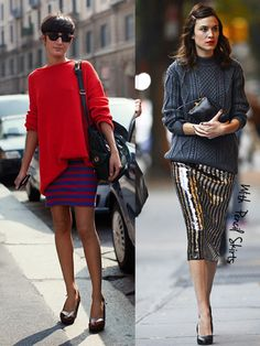 14 ways to wear oversized sweaters. oversized-sweaters-with-pencil-skirts