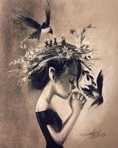 """Dear God, make me a bird. So I can fly far. Far, far away.""  #KurtChangArt #forrestgump #jenny #prayer #lighting #charcoal #charcoaldrawing #drawing #sketch #blackandwhite #art #surrealart #birds #flyaway #flowercrown #girl #animals..."