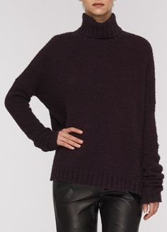 Vince Cozy Turtleneck Sweater in Mulberry