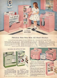 Toy kitchen from the Sears catalog, 1950s
