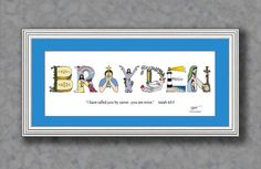 Baby boy Christening gifts personalized by The Christian Alphabet, $29.95 for matted print and $59.95 for framed print