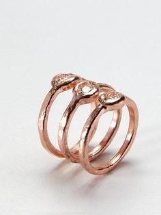 set of rose gold rings