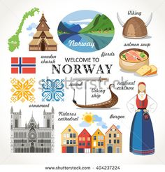 Find Welcome Norway Traditional Symbols Collection stock images in HD and millions of other royalty-free stock photos, illustrations and vectors in the Shutterstock collection. Kingdom Of Sweden, Viking Costume, Norway Travel, Scandinavian Art, Thinking Day, The Beautiful Country, Travel Scrapbook, Scrapbook Journal, People Of The World