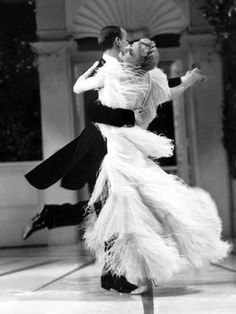 """All-American and forever memorable, Fred Astaire and Ginger Rogers hoofing at the highest standards in """"Top Hat,"""" 1935. In 1976 Rogers spoke of Astaire, """"I adore the man. I always have adored him. It was the most fortunate thing that ever happened to me, being teamed with Fred. . """" Ten years later Astaire complimented Rogers, """"""""All the girls I ever danced with thought they couldn't do it. So they always cried. All except Ginger. No, no, Ginger never cried."""" (IMDb)"""