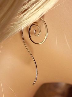Sterling Silver Spiral Earrings with Tail Silver Dangle Earrings Hammered Handmade