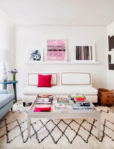 How to incorporate color in an all white space.