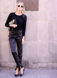 All black errrythang // Love the black silk pants + top