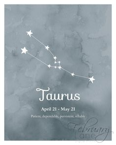 Taurus Zodiac Constellation 8x10 Instant Download by FebruaryLane