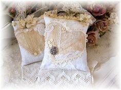 Ecru and ivory lace sachets