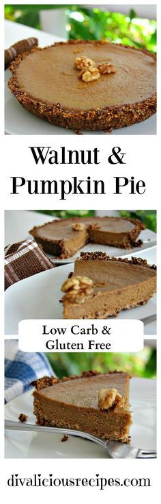 A Pumpkin pie made with a walnut and coconut crust. Low carb, gluten free & Paleo.