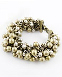 Brazalete aplique perlas vintage dorado EUR€5.89