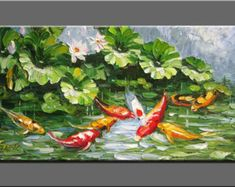 original painting,hand oil painting,impasto oil on canvas,framed,ready to hang,huge 40''  palette knife painting koi fish&lotus