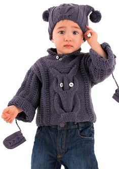 Crochet Baby Mittens Free Knitting Pattern for Baby Owl Sweater, Hat and Mittens - Set features a cable owl design on a long-sleeved pullover and hat, with matching cable mittens. To Fit Age: 3 Months to 12 Months. Designed by Bergere de France. Beanie Knitting Patterns Free, Baby Sweater Patterns, Baby Sweater Knitting Pattern, Free Knitting, Crochet Baby Mittens, Crochet Mittens Free Pattern, Crochet Baby Blanket Beginner, Crochet Socks, Crochet Poncho With Sleeves
