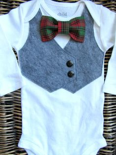 Items similar to Baby Boy Clothes - Boys First Christmas Outfit -Baby Bow Tie With Vest - Grey Vest Bodysuit - Christmas Plaid Bow Tie - Christmas Outfit on Etsy Baby Boy Shoes, Baby Boy Outfits, Baby Girl Announcement, Boys Clothes Style, Winter Outfits For Girls, Grey Vest, Crochet For Boys, Baby Girl Blankets, Baby Girl Romper