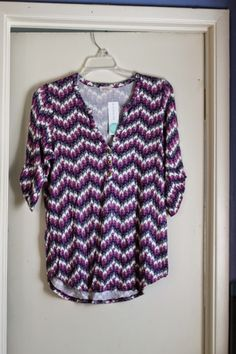 I know I have this in the pastel, but I love the darker purples/blues and would love another. :) EDMOND CHEVRON PRINT HENLEY SHIRT by PIXLEY Love colors and print. Have heard this is really soft