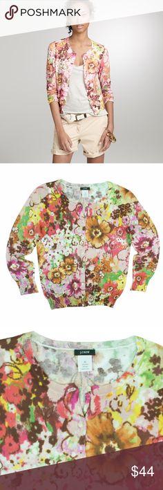 "JCREW Waterfloral Pastiche Cotton Cardigan Sweater Excellent condition! This lightweight cotton Waterfloral Pastiche cardigan from JCREW features button closures and 3/4 length sleeves. Made of 100% cotton. Measures: bust: 34"", total length: 21"", sleeves: 18"" J. Crew Sweaters Cardigans"