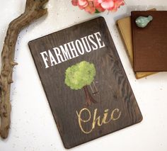Farmhouse Chic Gold Wood Sign