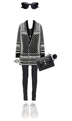 """Untitled #495"" by isabellakongerskov ❤ liked on Polyvore featuring Balmain, Balenciaga, Nixon and adidas"