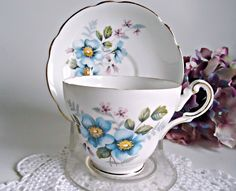 Tea Cup and Saucer Regency Teacup  Vintage Blue Floral by treasurecoveally on Etsy