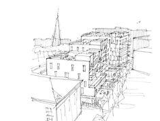 P77-79 — Reiulf Ramstad Arkitekter Terrace Building, Urban Intervention, Urban Village, Building Sketch, City Block, Urban Fabric, Residential Complex, Common Area, Oslo