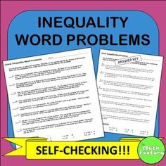 """Inequality word problems always give my students trouble on standardized tests.  I use this self-checking worksheet to give them some extra practice with tricky phrases such as """"at least"""", """"no more than"""", etc.When solved correctly the letters will spell QUARTILE."""