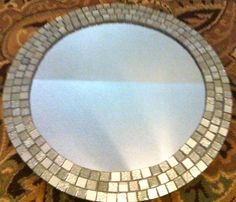 0c2b8f2401d DIY Tiled Mosaic Mirror... use glass tiles and faux mercury glass them!