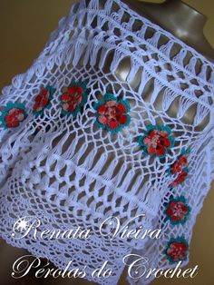 * Pérolas do Crochet: Blusa em Croche de grampo com flores