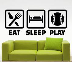 Mangiare dormire giocare Baseball adesivi sport parete vinile Decals Home affreschi degli interni arte decorazione (382n)