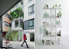 Vertical Garden House, Tokyo by Ryue Nishizawa. Exterior view(left). Curtains, benches and planters separate rooms. (Mock up on right)
