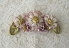 Items similar to Lovely Vintage Ribbonwork Applique - Antique Picot and Grosgrain Ribbons on Etsy Ribbon Candy, Silk Ribbon, Grosgrain Ribbon, Felt Flowers, Fabric Flowers, Ribbon Flower, Fabric Embellishment, Ribbon Work, Ribbon Embroidery