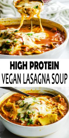 High Protein Vegan Lasagna Soup Recipe This Vegan Lasagna Soup is a thick and hearty lasagna soup is packaged with fiber plant-based protein. These vegan and gluten-free, is a satisfying a pleasing meal in bowl! High Protein Vegan Recipes, Tasty Vegetarian Recipes, Vegan Soups, Vegan Dinner Recipes, Vegan Dishes, Vegan Recipes Easy, Whole Food Recipes, Soup Recipes, Vegan Lasagna Recipe
