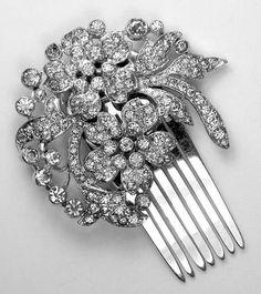 RARE 1930s KTF Trifari Art Deco Diamante Floral & Foliate Hair Ornament/Comb ~NR